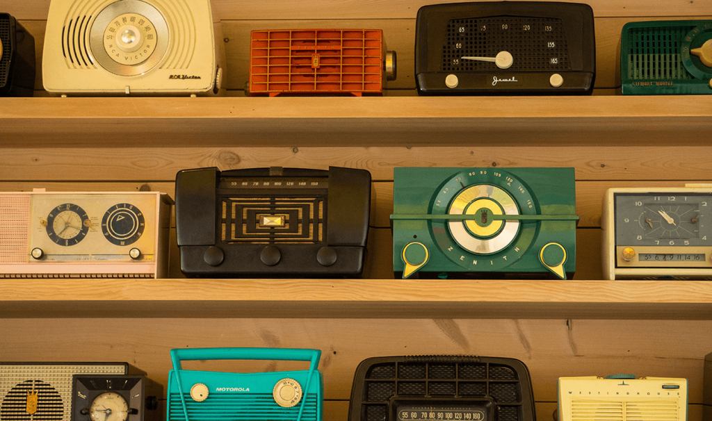 A collection of many vintage radios